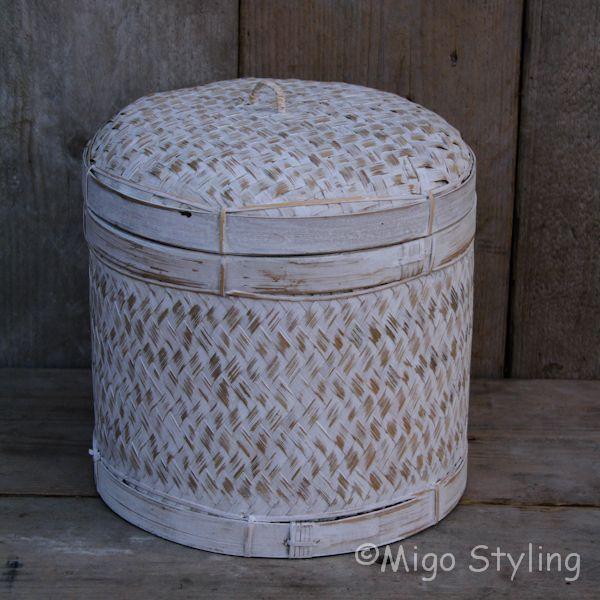 Bamboe sfeermand (S) met deksel white wash