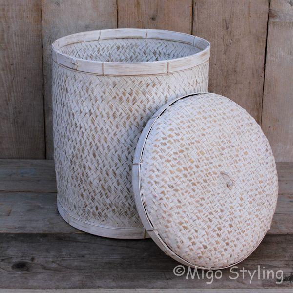 Bamboe sfeermand met deksel white wash