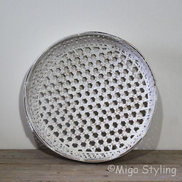 Bamboemand (S) open white wash