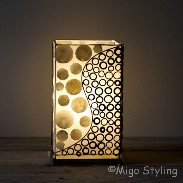 Tafellamp capiz en bamboe 30 cm