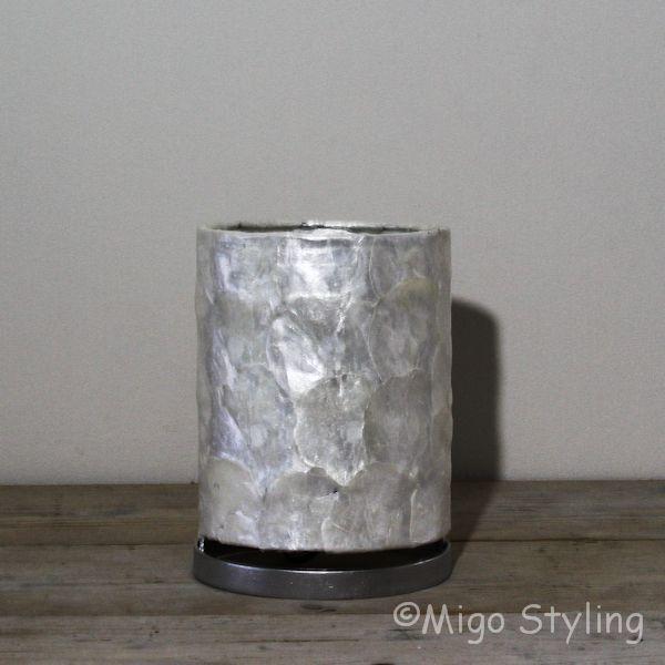 Tafellamp parelmoer capiz 14 cm