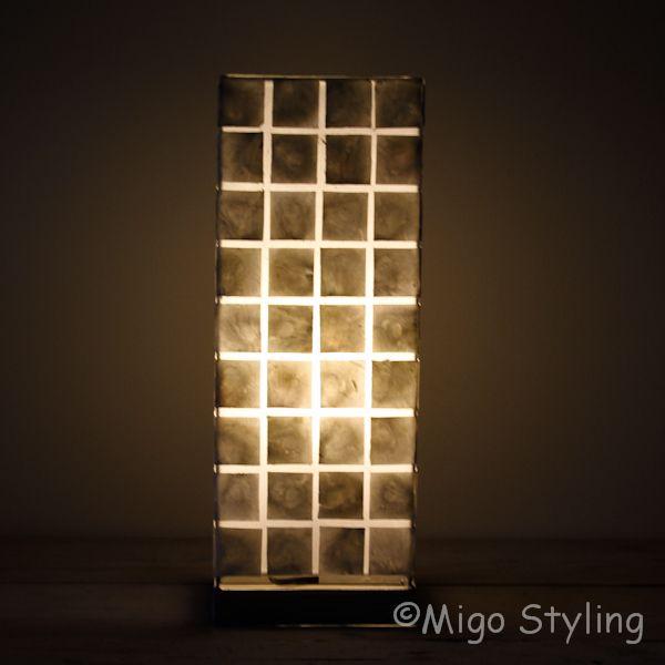 Tafellamp capiz vierkant 40 cm