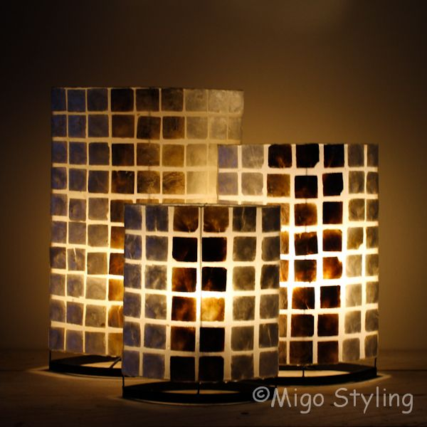 Tafellamp parelmoer en donker capiz