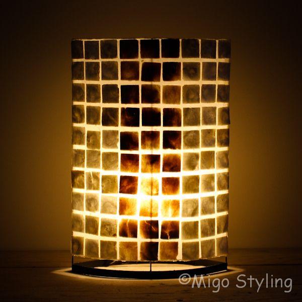 Tafellamp parelmoer en donker capiz 50 cm