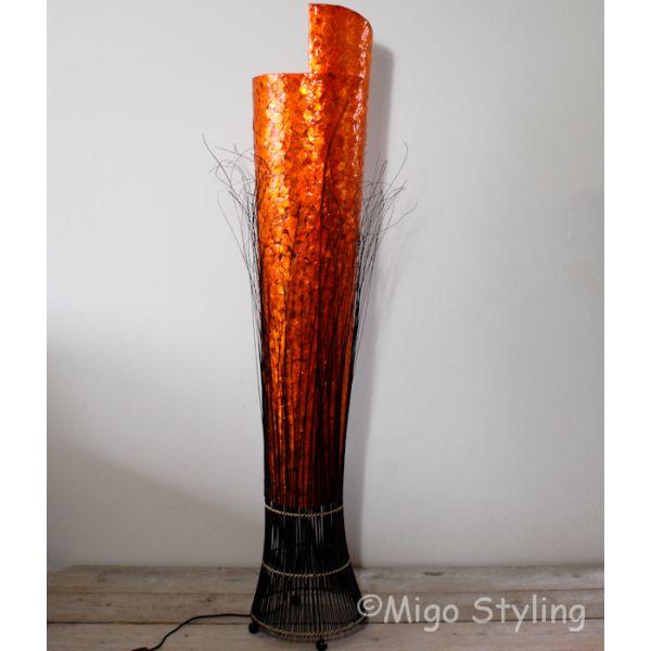 Vloerlamp Capizschelpen oranje