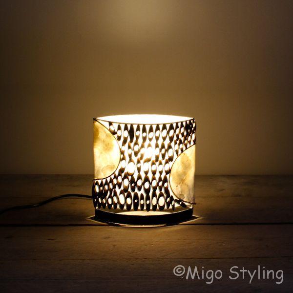 tafellamp capiz met bamboe 20 cm