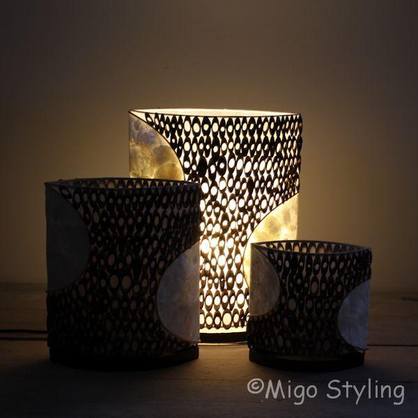 Tafellamp capiz met bamboe 30 cm
