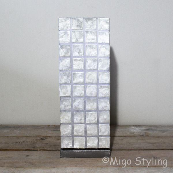 Tafellamp capiz vierkant groot 50 cm