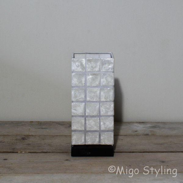 Tafellamp capiz vierkant klein 30 cm