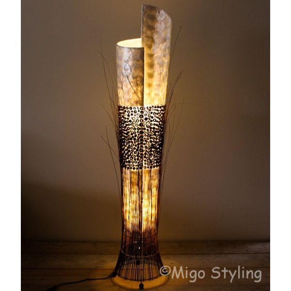 Vloerlamp Capizschelpen en donker bamboe