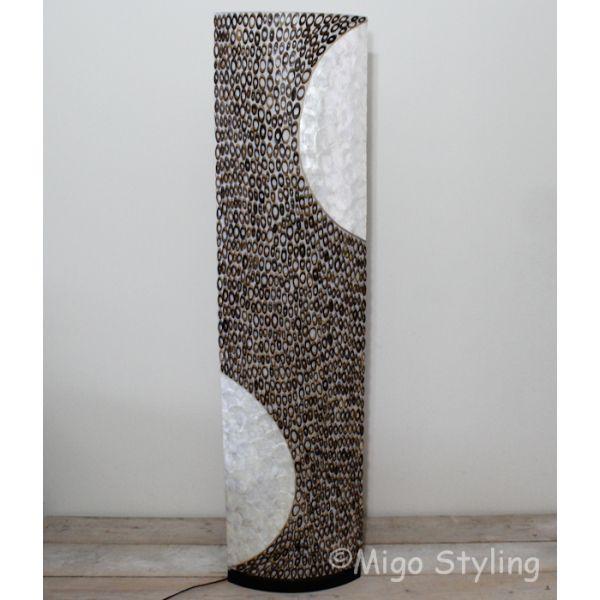 Vloerlamp Capizschelp met bamboe ovaal