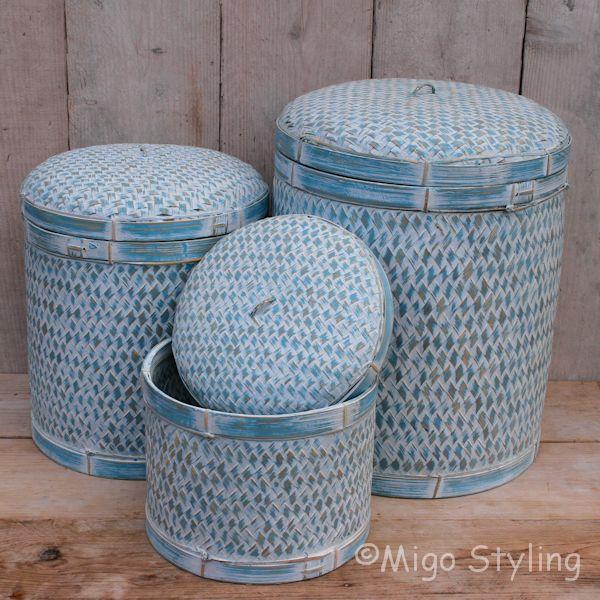 Bamboe sfeermand (M) met deksel terquoise
