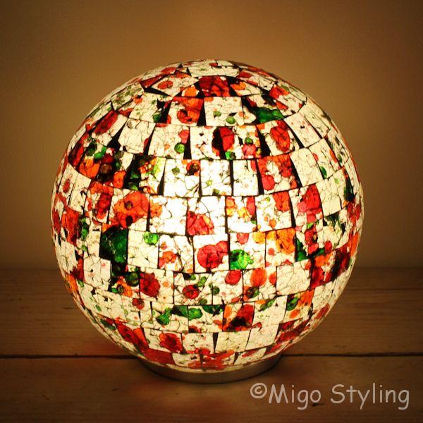 Gekleurde Mozaiek design tafellamp Bol (oranje groen)