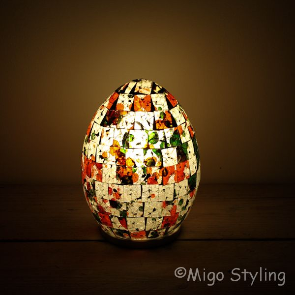 Gekleurde Mozaiek design tafellamp Egg (rood oranje groen)