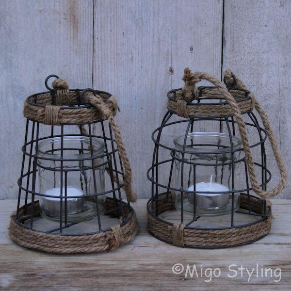 Metalen lantaarn met jute (rond)