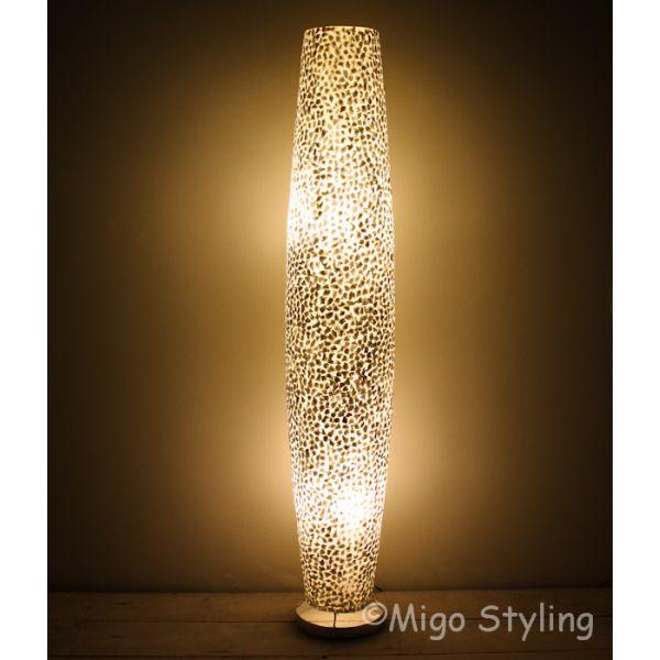 Vloerlamp Cone schelpen wit