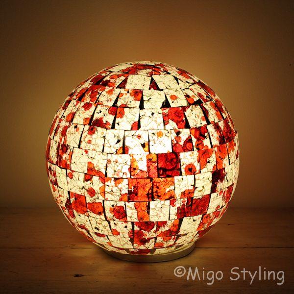Gekleurde Mozaiek design tafellamp Bol (oranje)