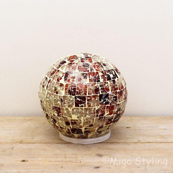Gekleurde Mozaiek design tafellamp Bol (rood oranje)