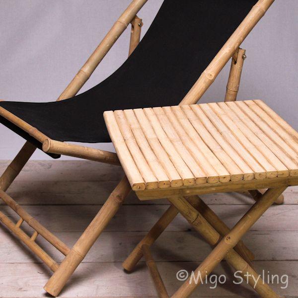 Relaxstoel van bamboe met hoofdsteun kussens