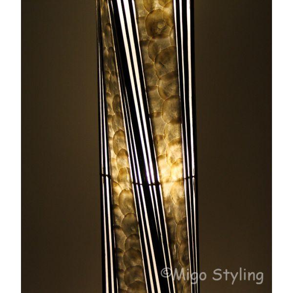 Vloerlamp Twist capizschelp 170 cm zwart wit