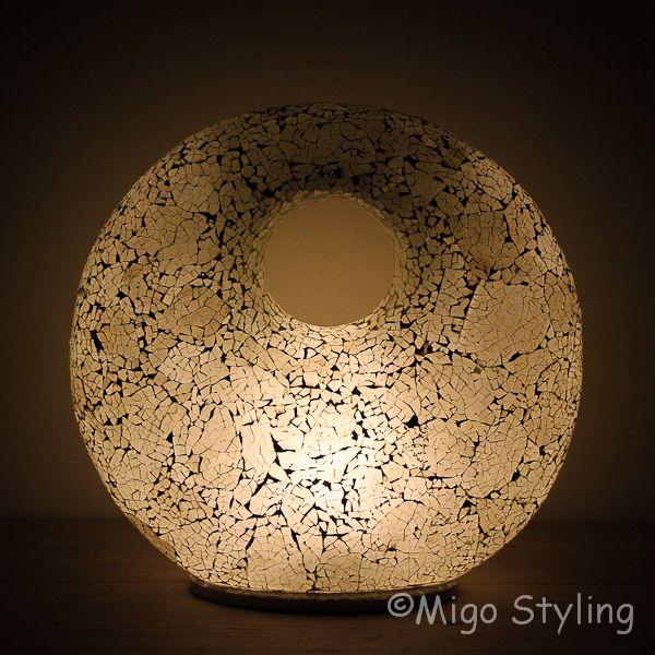 Mozaiek design tafellamp Donut wit
