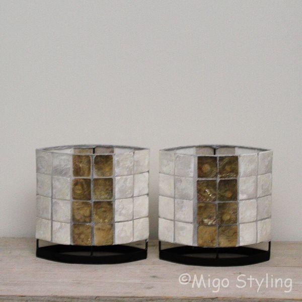 Set tafellampen parelmoer en donker 20 cm