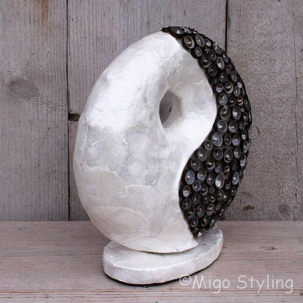 Tafellamp Donut capizschelp wit/zwart