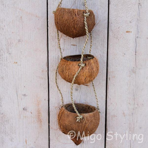 Kokosnoot plantenhanger 3 cups