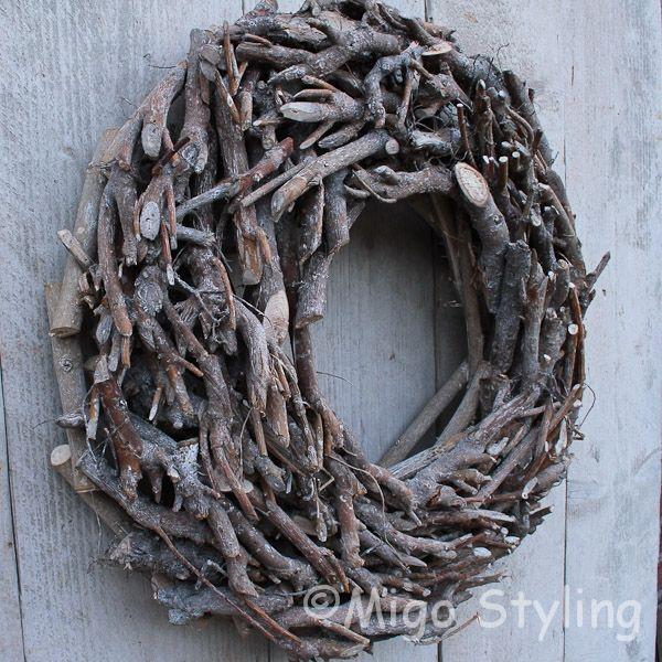 Krans brocant landelijk in greywash