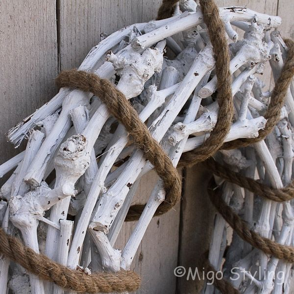 Krans met touw Wit