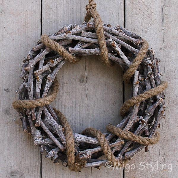 Krans met touw naturel D35