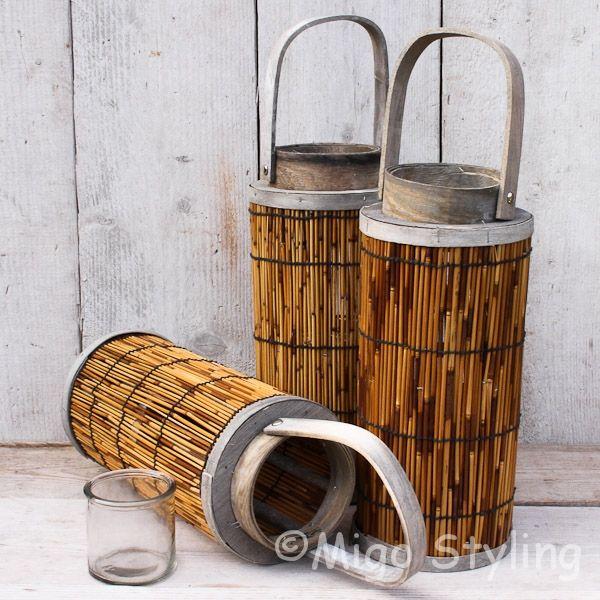 Lantaarn Bamboe bruin Ø 16 x H 35