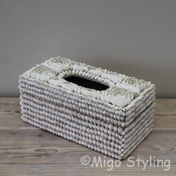 Luxe Tissuebox van schelpen Wit