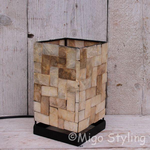 Mozaiek schelpen tafellamp bronskleur steenmotief