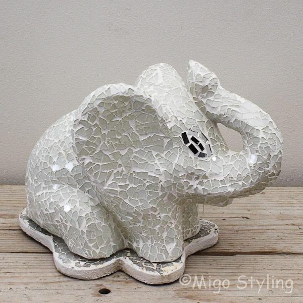 Mozaiek tafellamp olifant wit