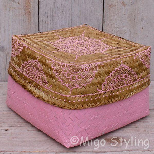 Offermandje bamboe roze L
