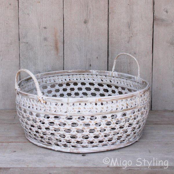 Bamboemand (M) open white wash