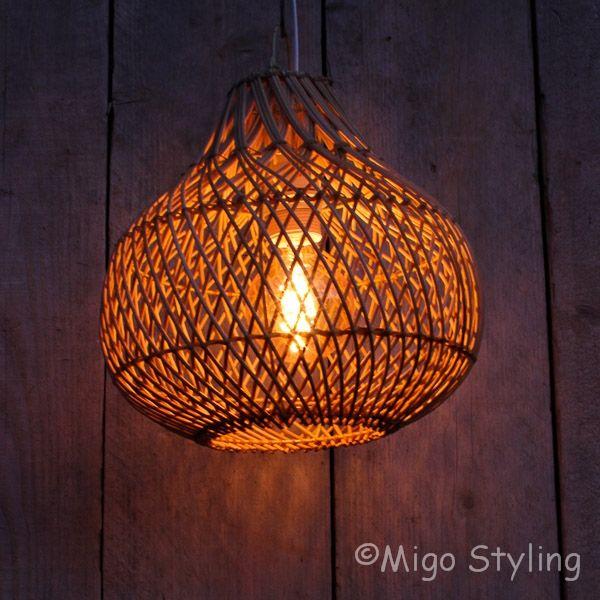 Rieten hanglamp klein