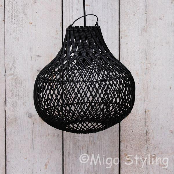Rieten hanglamp klein zwart
