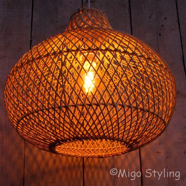Rieten hanglamp groot