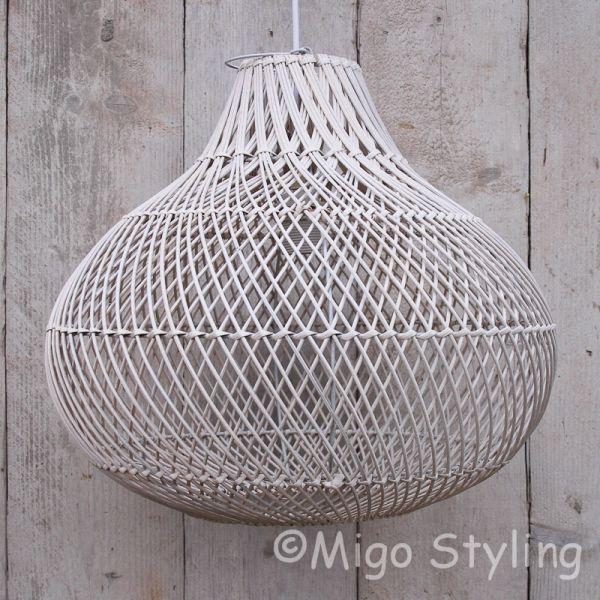 Rieten hanglamp Wit groot