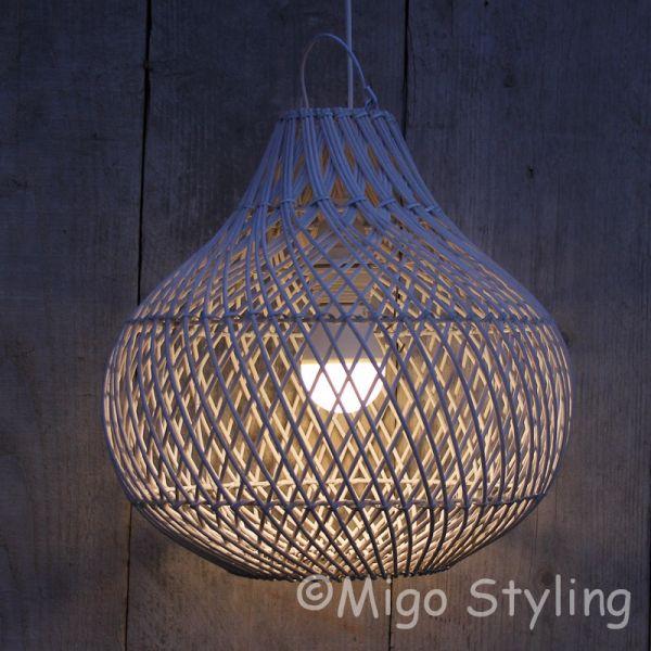 Rieten hanglamp Wit klein