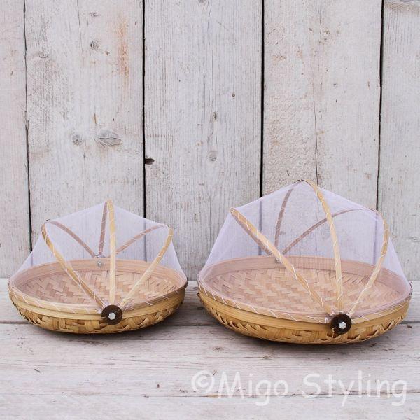 Set vliegenmandjes Bamboe naturel