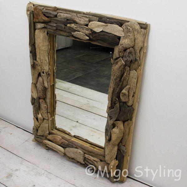 Spiegel rechthoek met driftwood