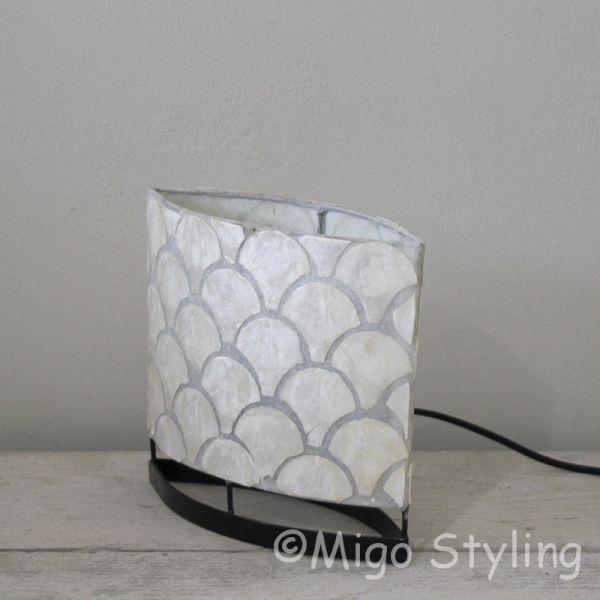Tafellamp Capizschelp waaier wit ovaal 20cm