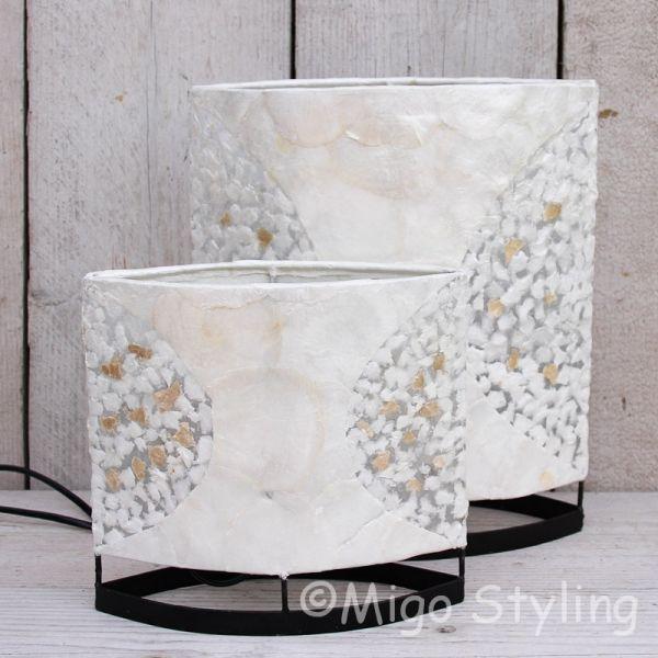 Tafellamp Capizschelp wit brons ovaal 30cm