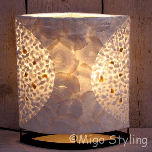Tafellamp Capizschelp wit brons ovaal