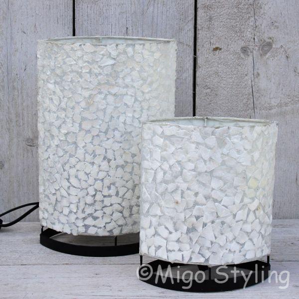 Tafellamp wit gevlokt parelmoer