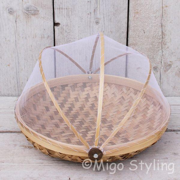 Vliegenmandje Bamboe naturel