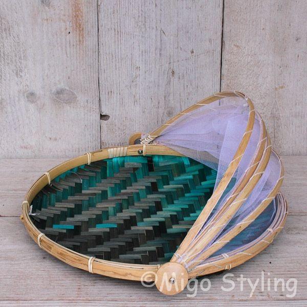 Vliegenmandje Bamboe naturel   terquoise